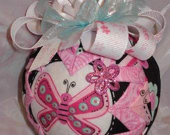 Handmade Christmas Ornament - Pink Butterfly Ornament- Quilted Christmas Ornament - Hostess Gift, Birthday Gift For Girl