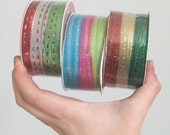 Skinny Glittery Fabric Christmas Ribbons (sort of), Red, Green, Neons. 3 rolls, brand new. 36 yds total.