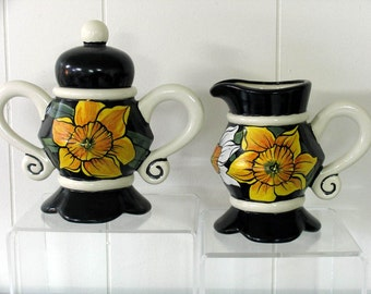 Cream & Sugar Bowl Hand painted Spring Flowers Daffodils on Etsy