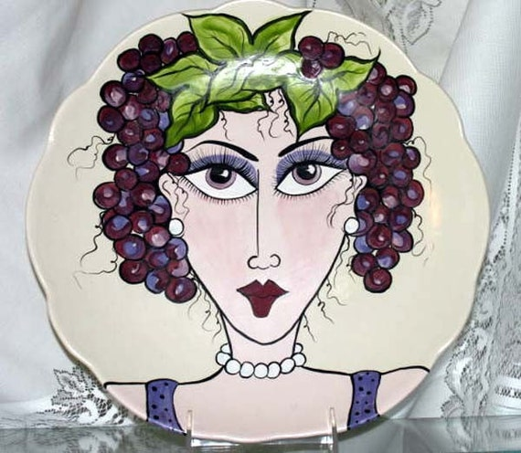 Ceramic Plate Scalloped Edges Whimsical Lady's Face Hand Painted & surrounded by Purple Grapes on Etsy