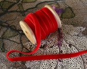 3 Yards Beautiful Classic Red Velvet Ribbon 1/4 Inch Wide .25 Inch Wide