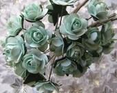 Paper Millinery Flowers 24 Petite Roses In Aqua Mint