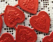 Made In Germany 20 Red Foil Dresden Embossed Hearts