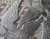 German Dresden Trim Silver Angel Wings Die Cut And Deeply Embossed