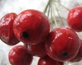 8 Vintage Handmade Germany Red Millinery Medium Sized Apples