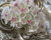 Forget Me Nots Flocked Paper Flowers An Old Fashioned Favorite in White With Pink Peps
