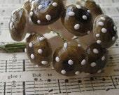 Vintage Millinery Brown Mushrooms 12 West Germany Spun Cotton