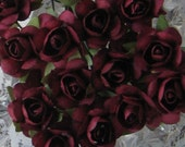 Paper Millinery Flowers 24 Small Handmade Roses In Burgundy
