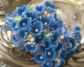 Forget Me Nots Flocked Paper Flowers in French Blue One Bouquet