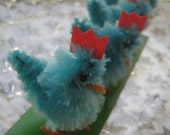 4 Vintage Chenille Easter Chicks Old Store Stock
