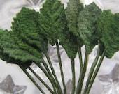 Millinery Leaves 24 Tiny Green Velvet Fabric