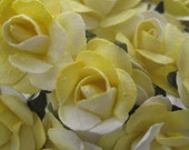 Paper Millinery Flowers 24 Petite Handmade Roses In Yellow Mix