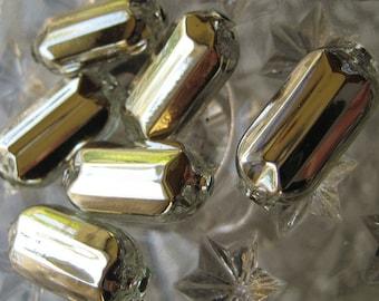 Mercury Glass Beads 6 Fancy Christmas Garland Beads Handmade In Czech Republic  036 S