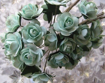 Paper Millinery Flowers 24 Petite Roses In Aqua Mint