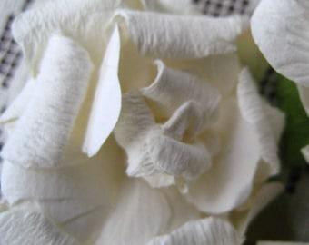 Paper Millinery Flowers 3 Large Shabby White Roses Handmade
