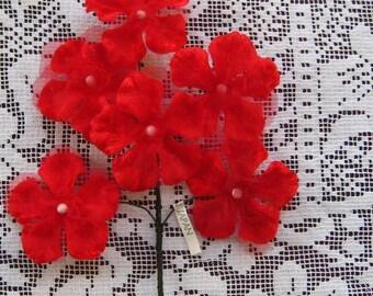 Vintage Millinery Flowers Velvet and Organdy Made In Japan Geraniums