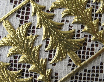 Dresden Trim Made In Germany 10 Gold Foil Die Cut Christmas Trees