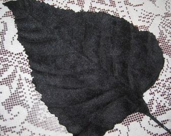 2 Velvet Leaves Extra Large Embossed Black Velvet Millinery Leaves