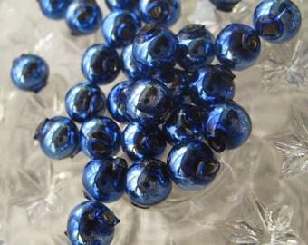 Mercury Glass Beads 30 Czech Republic Handmade Christmas Garland Beads 8mm Blue