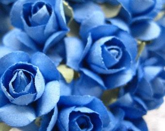 Paper Flowers 24 Small Millinery Roses In Cornflower Blue
