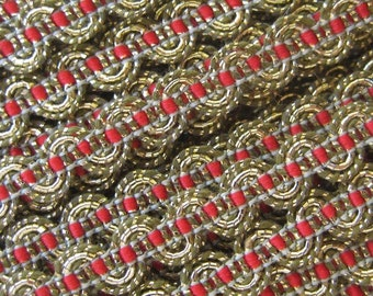 2 Yards Metallic Trim In Gold And Red Old Store Stock  VT 106