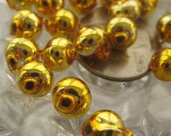 Mercury Glass Beads 30 Czech Republic Handmade Christmas Garland Beads 8mm Gold