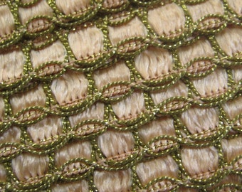 2 Yards Vintage Metallic Peach And Gold Trim  Old Store Stock VT 111
