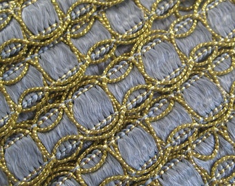 2 Yards Vintage Metallic Smoky Blue And Gold Trim  Old Store Stock   VT 110