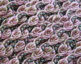 3 Yards Sweet Little Rose Trim For Sewing Or Scrapbooking Old Store Stock Pale Pink Yellow Green