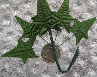 Millinery Leaves 24 Green Satin Fabric Ivy Leaves. VL C18