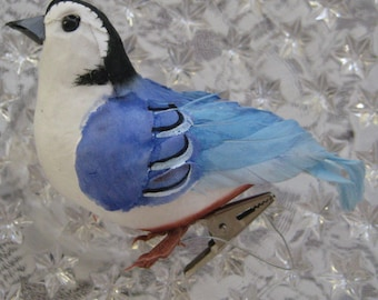 Medium Handmade Feather And Fiber White Breasted Nuthatch Bird With Clip