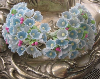 Forget Me Nots Old Fashioned Millinery Flowers in Light Blue 2 Bouquets