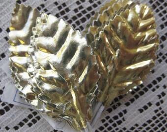 Vintage Millinery Leaves 24 Embossed Gold Foil