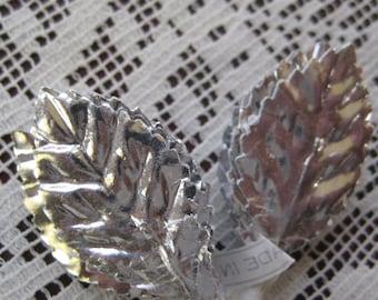 Vintage Millinery Leaves Embossed 24 Silver Foil Leaves