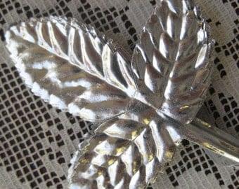 Vintage Millinery Leaves 12 Embossed Silver Foil 1960s Rose Leaf