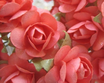 Paper Flowers 24 Petite Roses In Coral Millinery Flowers