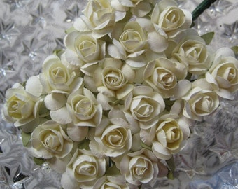 Paper Flowers 24 Small Millinery Roses In Ivory