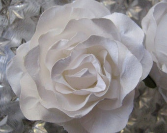 Paper Millinery Flowers 2 Extra Large Roses In White