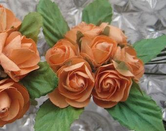 Paper Millinery Flowers 14 Handmade Button Roses In Light Orange