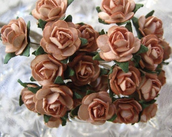 Paper Flowers 24 Of Our Tiniest Baby Millinery Roses In Cocoa Brown