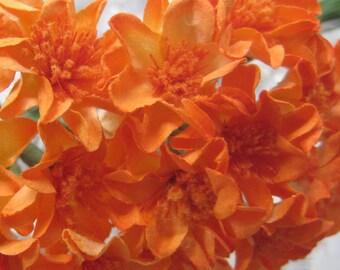 20 Handmade Paper Millinery Small Zinnia Flowers In Orange