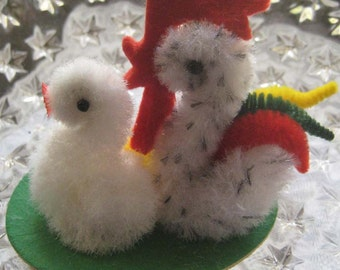 Fuzzy Chenille Chicken Family For Easter Hand Made in The Czech Republic