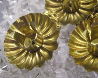 Christmas Candle Clips Made In Germany Set Of 9 Tin Clips In Gold  CL 04G