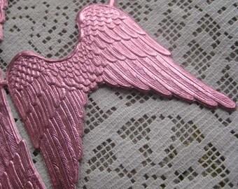 Dresden Angel Wings Made In Germany 4 Large Gold Embossed Die Cut Paper In Pink