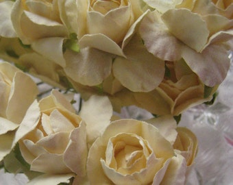 Paper Flowers 16 Spring Millinery Roses In Ivory