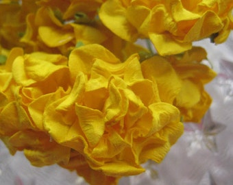 Paper Millinery Flowers 16 Frill Roses In Bright Yellow