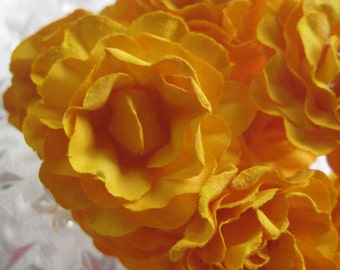 Paper Millinery Flowers 12 Sweetheart Roses In Dark Yellow