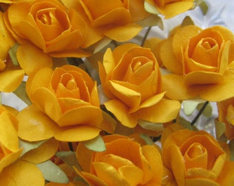 Paper Millinery Flowers 24 Small Handmade Roses In Marigold Orange