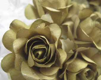 Paper Flowers 12 Open Millinery Roses In Olive Green