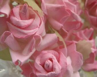 Paper Millinery Flowers 12 Dainty Handmade Roses In Pink
